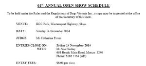 Open Show Schedule 2014 - PDF