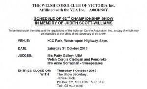2015 Championship Show Schedule Thmbnail