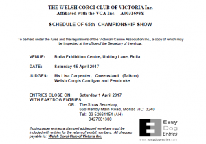 65th Championship Show Schedule - April 2017